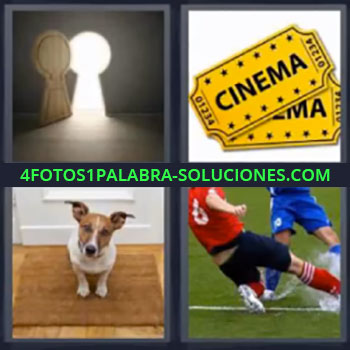 4 Fotos 1 Palabra - seis-letras cinema perro, Puerta con forma de cerradura, Tickets o billetes de cine, Perro sobre la alfombra en la puerta, Jugando al fútbol.