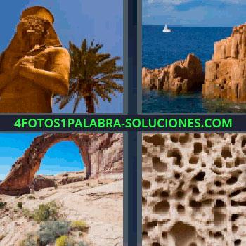 4 Fotos 1 Palabra - ocho-letras estatua egipcia, rocas en el mar, desierto, paisaje, coral.