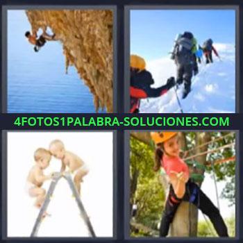 4 Fotos 1 Palabra - ocho-letras escaladores bebes en escalera, Alpinistas en montaña nevada, Niña subiendo un árbol.