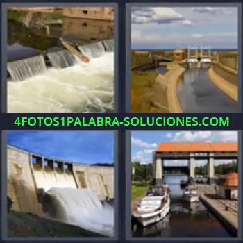 4 Fotos 1 Palabra - cinco-letras canal presa, Cascada artificial de agua, Canal de agua, Presa, Yates en canal.