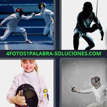 4 Fotos 1 Palabra - cuatro-letras hombres con espada. Hombres luchando o peleando. Niña con traje especial lucha.