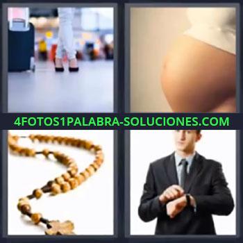 4 Fotos 1 Palabra - ocho-letras embarazada cruz, Piernas y maleta, Barriga de embarazada, Rosario, Hombre con traje señalando reloj.