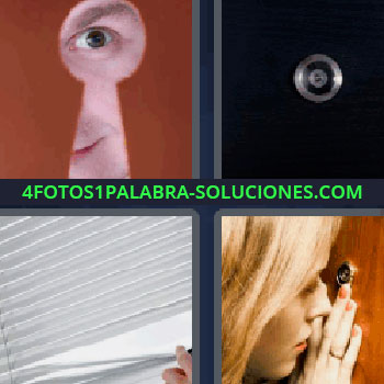 4 Fotos 1 Palabra - mirilla, mujer mirando por la mirilla de una puerta, hombre mirando a través del agujero de la cerradura, persiana veneciana blanca, puerta negra.
