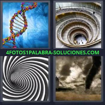 4 Fotos 1 Palabra - ocho-letras escalera tornado, Cadena de ADN, Escaleras circulares, Túnel de rayas blancas y negras, Tornado.