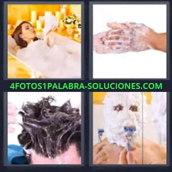4 Fotos 1 Palabra - mujer en la tina, Mujer en la bañera, Lavandose las manos, Jabon en el pelo, Afeitandose
