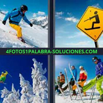 4 Fotos 1 Palabra - ocho-letras esquiador. Señal amarilla de pistas de esquí. Árboles abetos nevados. Personas aprendiendo a esquiar.
