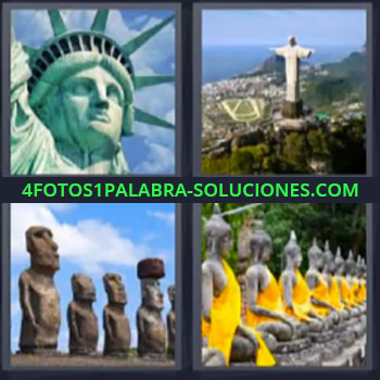 4 Fotos 1 Palabra - ocho-letras estatua libertad brasil, Cristo Redentor Rio de Janeiro, Moái Isla de Pascua.