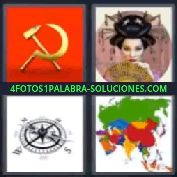 4 Fotos 1 Palabra - siete-letras hoz y martillo, Gueisa, Brújula, Mapa de Asia.