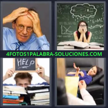 4 Fotos 1 Palabra - seis-letras hombre con manos en la cabeza, Profesora preocupada, Letrero Help, Mujer en sofa