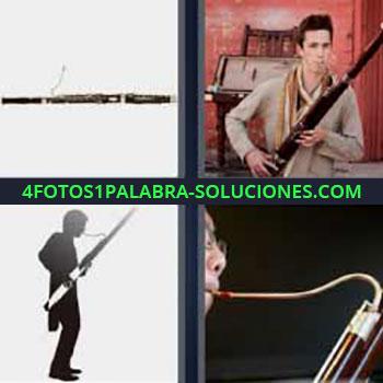 4 Fotos 1 Palabra - cinco-letras instrumento musical de viento. Flauta travesera. Hombre tocando oboe.