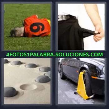 4 Fotos 1 Palabra - seis-letras bolsillo vacío, Jugador fútbol en el suelo, Piedras en la arena, Cepo en la rueda del coche
