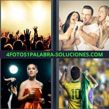 4 Fotos 1 Palabra - cuatro-letras Concierto. Amigos cantando. Mujer con vestido rojo y fotógrafo. Futbolista brasil.