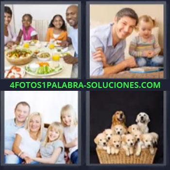 4 Fotos 1 Palabra - cinco-letras comida familiar perros. Papa y su hija. Camada de perros.