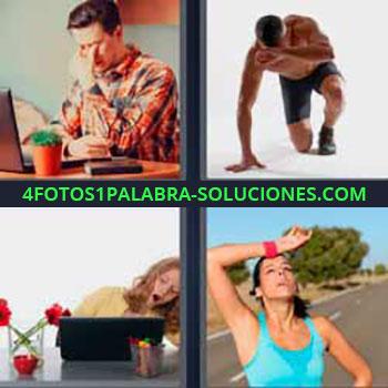 4 Fotos 1 Palabra - siete-letras hombre cansado laptop o portátil. Señor deportista. Mujer bostezando. Mujer deporte cansada sudando.