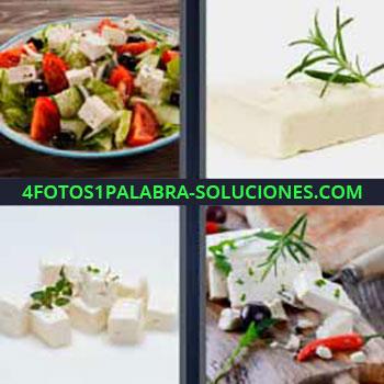 4 Fotos 1 Palabra - ocho-letras ensalada queso. Queso fresco con romero. Trozos de queso con hierbas.