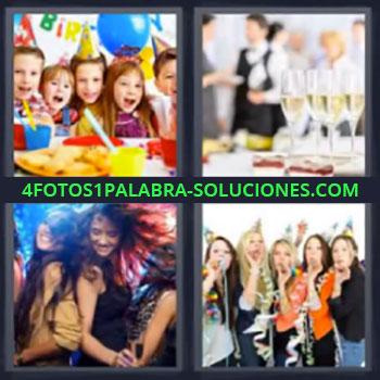 4 Fotos 1 Palabra - niños celebrando cumpleaños, Copas, Bailando, Mujeres celebrando