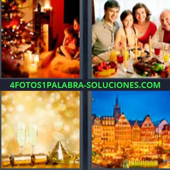 4 Fotos 1 Palabra - siete-letras de 7 letras. Madre e hija con árbol de navidad. Familia en la mesa con velas. Copas de champan celebración. Casas ciudad antigua europea.