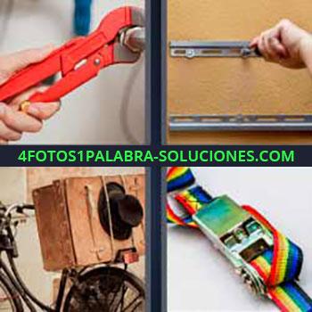 4 Fotos 1 Palabra - ocho-letras llave inglesa o tenazas. Guía o carril cajón. Bicicleta con bulto y sombrero. Cinta colores y hebillas.