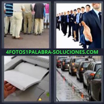 4 Fotos 1 Palabra - siete-letras línea, gente haciendo cola, grupo empresa felicitando, fotocopiadora, hilera de coches