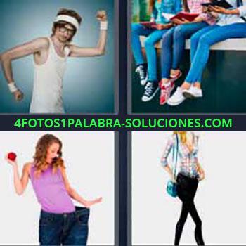 4 Fotos 1 Palabra - mujer pantalones grandes. Chico con gafas y cinta en la cabeza. Jóvenes estudiantes. Señorita modelo.