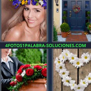 4 Fotos 1 Palabra - siete-letras corona de flores. Puerta de una casa con plantas. Entierro ataúd. Margaritas.