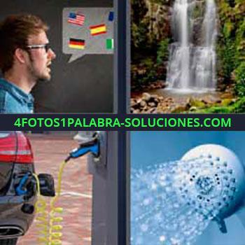 4 Fotos 1 Palabra - siete-letras cascada o catarata de agua. Hombre banderas países. Carro o coche enchufado cargando electricidad. Alcachofa ducha.