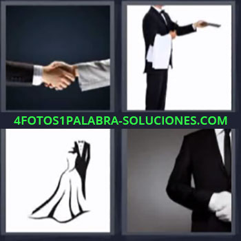 4 Fotos 1 Palabra - seis-letras hombres dandose la mano, Camarero o mesero, Dibujo de vestido y traje de noche, Hombre vestido de etiqueta.