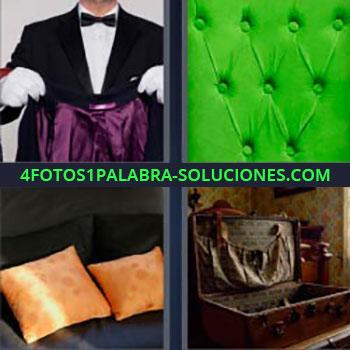 4 Fotos 1 Palabra - mayordomo con chaqueta. Almohadón verde. Cojines color dorado. Maleta antigua abierta y vacía