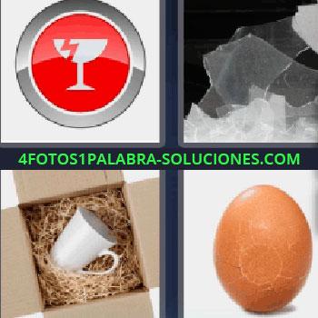 4 Fotos 1 Palabra - siete-letras huevo roto. Símbolo copa rota con fondo rojo. Cristales rotos. Taza de porcelana en caja.