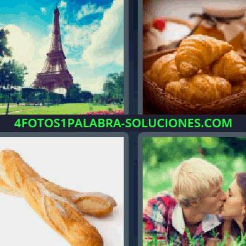 4 Fotos 1 Palabra - cuatro-letras barras de pan, Torre Eiffel, Croissants o cruasanes, barras de pan o baguettes, novios besándose en un parque, bollería.