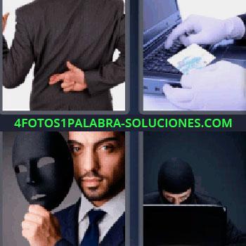 4 Fotos 1 Palabra - seis-letras hombre cruzando los dedos. Persona con guantes tarjeta de crédito y laptop. Máscara negra. Hombre con cara tapada y computadora portátil.