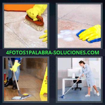 4 Fotos 1 Palabra - cinco-letras hombre limpiando el piso. Mujer limpiando oficina. Mano con guante amarillo fregando el suelo. Limpiando el suelo con bayeta azul. Pasando mopa.