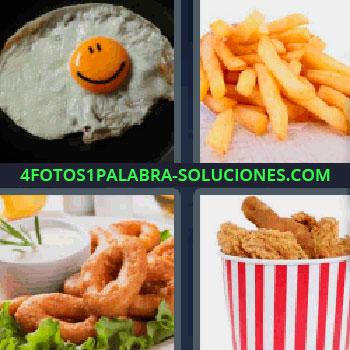 4 Fotos 1 Palabra - cuatro-letras huevo frito con sonrisa, papas fritas, patatas a la francesa, pollo frito, nuggets de pollo, aros de cebolla con lechuga y salsa blanca.
