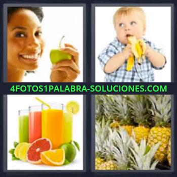4 Fotos 1 Palabra - cinco-letras manzana, niño con platano, Zumos o jugos, Piñas