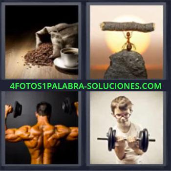 4 Fotos 1 Palabra - cuatro-letras cafe bolsa y taza, Hormiga subiendo madera, Culturista levantando pesas, Niño levantando pesas