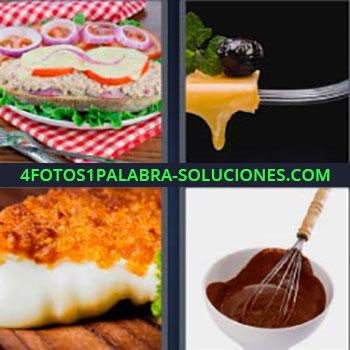4 Fotos 1 Palabra - seis-letras chocolate líquido. Ensaladilla sobre pan. Queso derretido