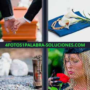 4 Fotos 1 Palabra - seis-letras ataúd. Flores blancas. Mujer vestida de luto con flor roja.