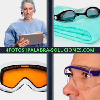 4 Fotos 1 Palabra - ocho-letras doctora o cirujana con ipad o tablet. Toalla y lentes alberca o piscina. Gafas de bucear o de esquí.