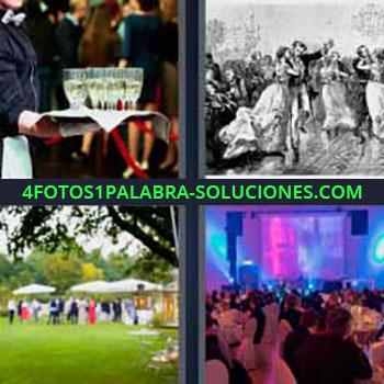 4 Fotos 1 Palabra - seis-letras celebración. Sirviendo copas mesero o camarero. Gente en una fiesta o celebración. Cena de lujo.