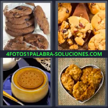 4 Fotos 1 Palabra - cuatro-letras de flan, Cookies, Panqueques, Galletas, Pan de dulce.