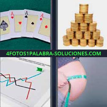 4 Fotos 1 Palabra - cinco-letras ases poker. Montañas de monedas. Gráfico. Embarazada midiendo barriga.