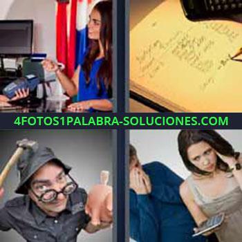4 Fotos 1 Palabra - mujer pagando con tarjeta. Apuntando en una libreta. Hombre martillo rompiendo alcancía o hucha. Pareja con calculadora.