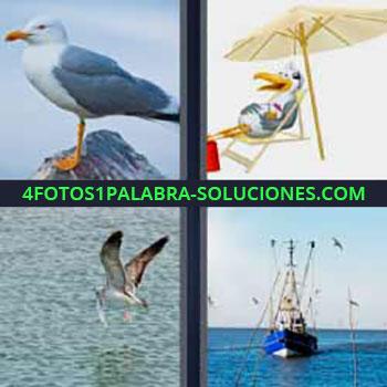 4 Fotos 1 Palabra - cinco-letras ave en el mar. Caricatura o dibujo pájaro con sombrilla. Volando sobre el agua. Barco de pesca.