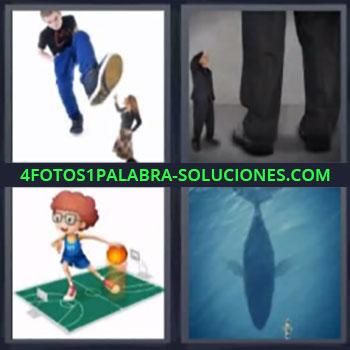 4 Fotos 1 Palabra - seis-letras ballena mujer pequeñita. Dibujo jugando a baloncesto en pista pequeña.