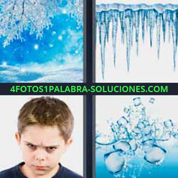 4 Fotos 1 Palabra - seis-letras congelado bosque. Estalactitas de hielo. Niño con cara de enfadado o enojado. Cubitos de hielo en el agua.