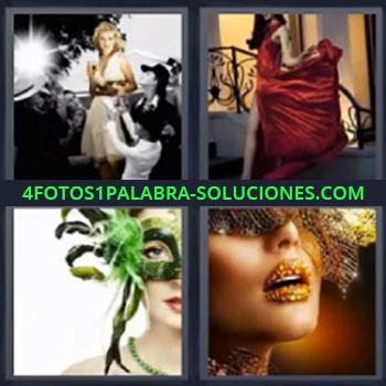 4 Fotos 1 Palabra - mujer vestido rojo mascara, Sesión fotográfica mujer vestido blanco, Dama con vestido rojo de vuelo, Señorita con máscara verde, Mujer con labios pintados.