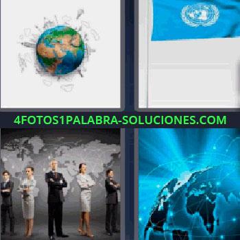 4 Fotos 1 Palabra - cinco-letras bola del mundo. Bandera azul. Personas cruzadas de brazos detrás mapa del mundo. Planeta con luces azules.