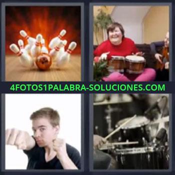 4 Fotos 1 Palabra - siete-letras boliche bateria, Bolos, Señora tocando unos bongos, Chico dando puñetazo.