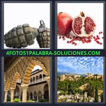 4 Fotos 1 Palabra - siete-letras fruta roja paisaje, Bombas de mano, Fruta roja, Alhambra, Ciudad.