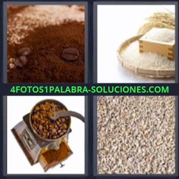 4 Fotos 1 Palabra - cinco-letras cafe harina, Bizcocho o Pay, Harina de trigo o maiz, Molinillo de cafe